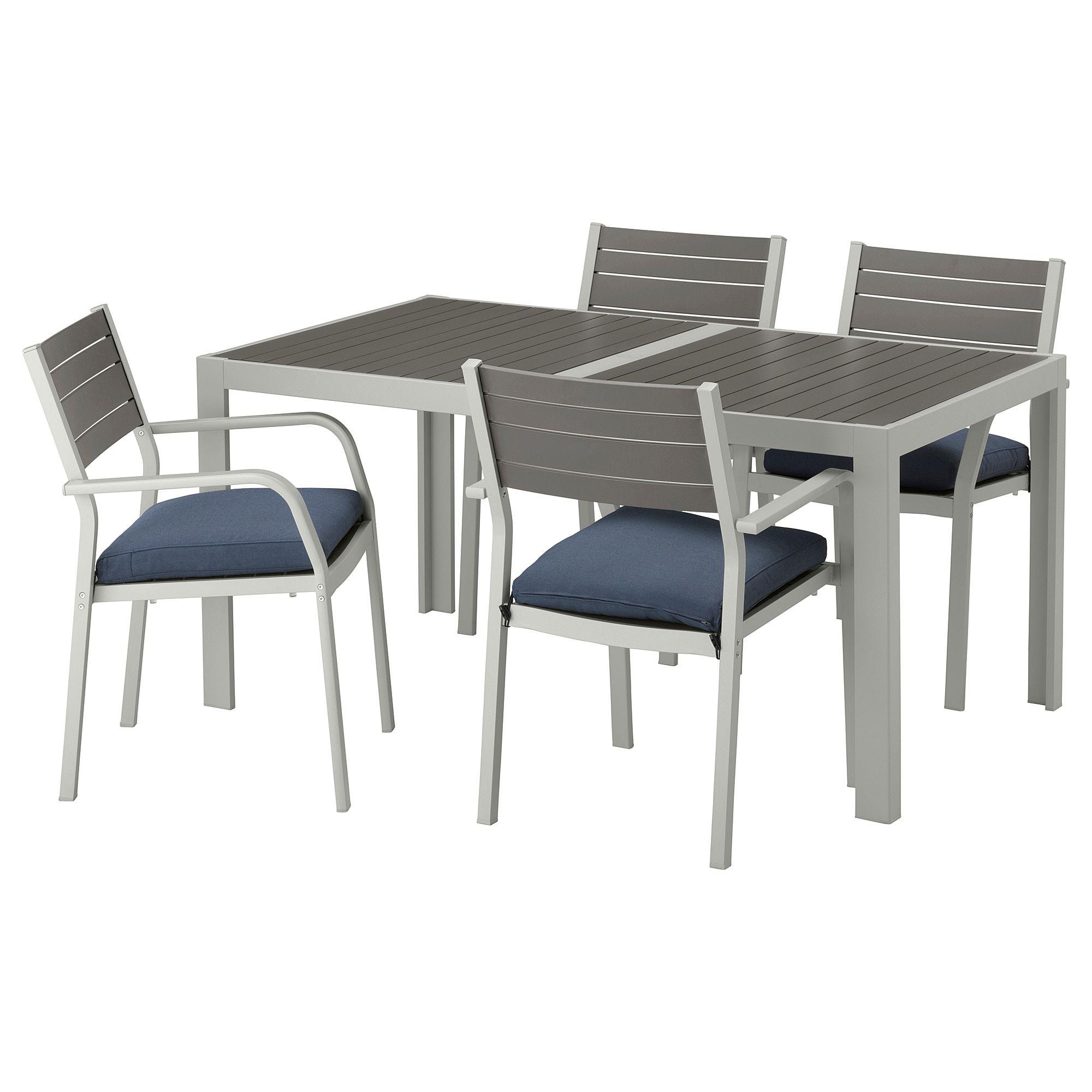 Sjalland Tisch 4 Armlehnstuhle Aussen Dunkelgrau Froson Duvholmen