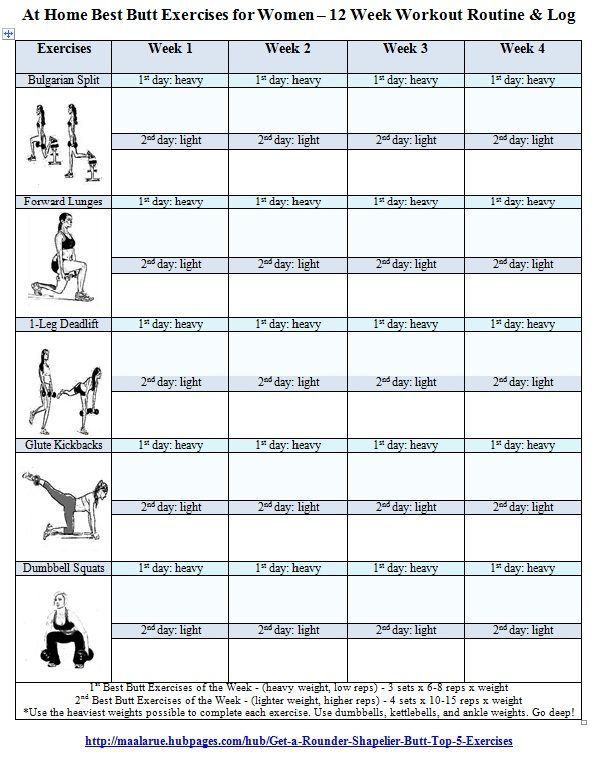 Best Butt Workouts for Women - Free Printable 12 Week Butt Workout ...