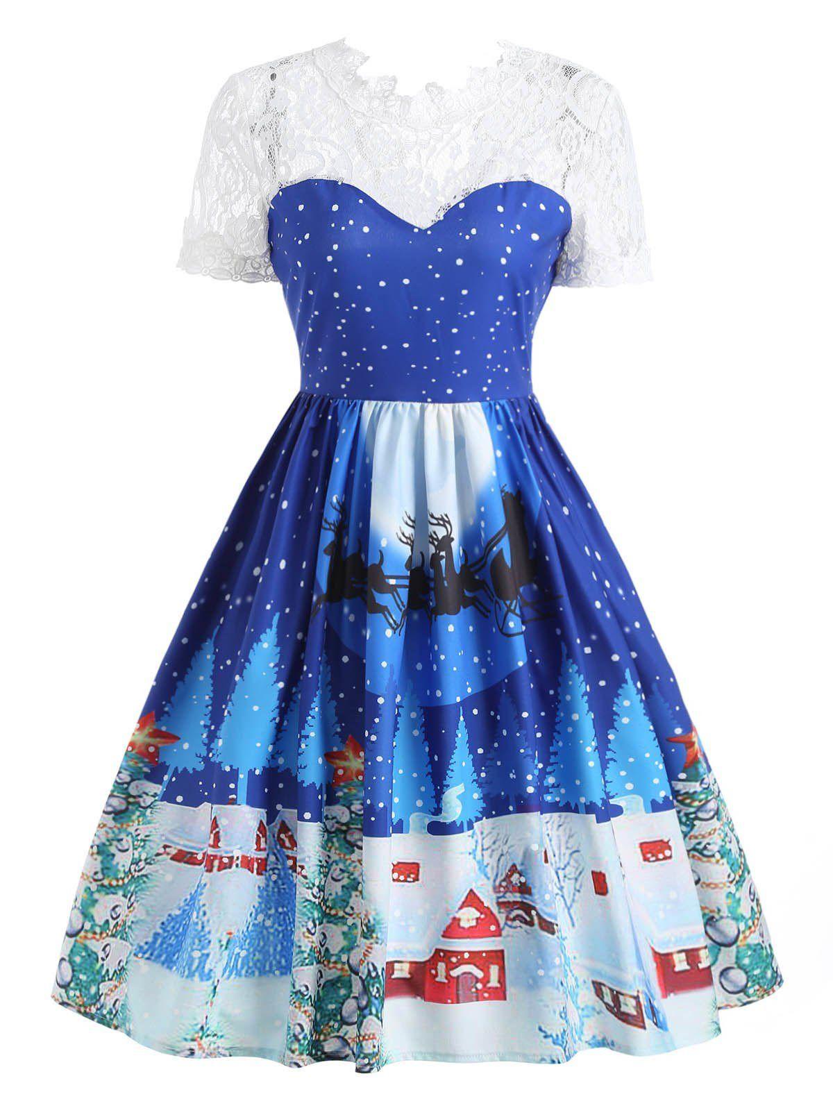 2117ec375ad6c Gamiss Women Autumn Lace Panel Christmas Print 50s Swing Dress Female  Vintage Cute Short Sleeve A Line Dress Rockabilly Vestidos