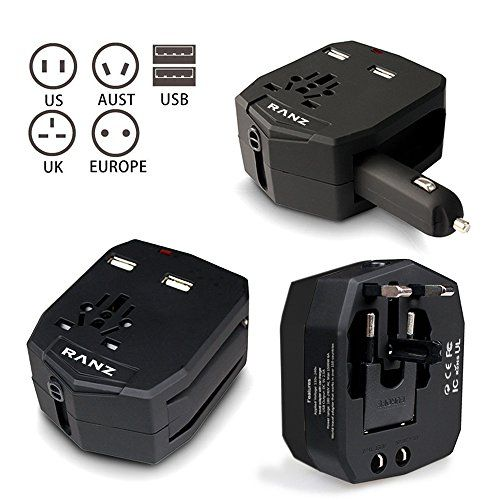 Travel Adapter RANZ Universal Worldwide International AllinOne Travel adapter Dual USB Port For USA UK EU AUS with Car Charger Black *** To view further for this item, visit the image link.Note:It is affiliate link to Amazon.