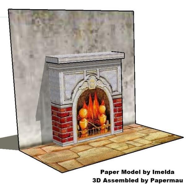 PAPERMAU: Three Paper Models Of Fireplaces For Dioramas And Doll Housesby Imelda