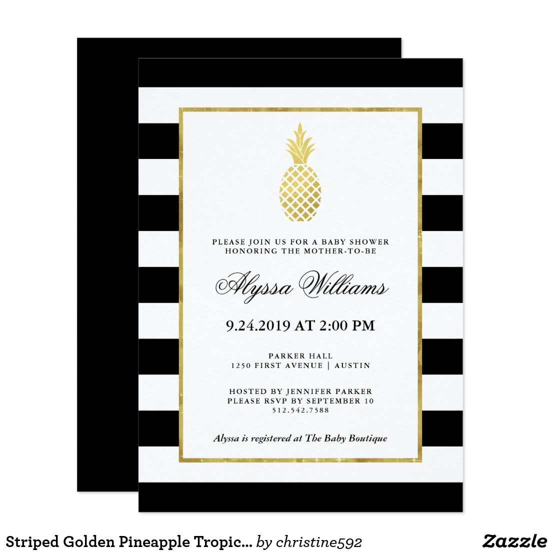 Striped Golden Pineapple Tropical Baby Shower Card This stylish baby ...