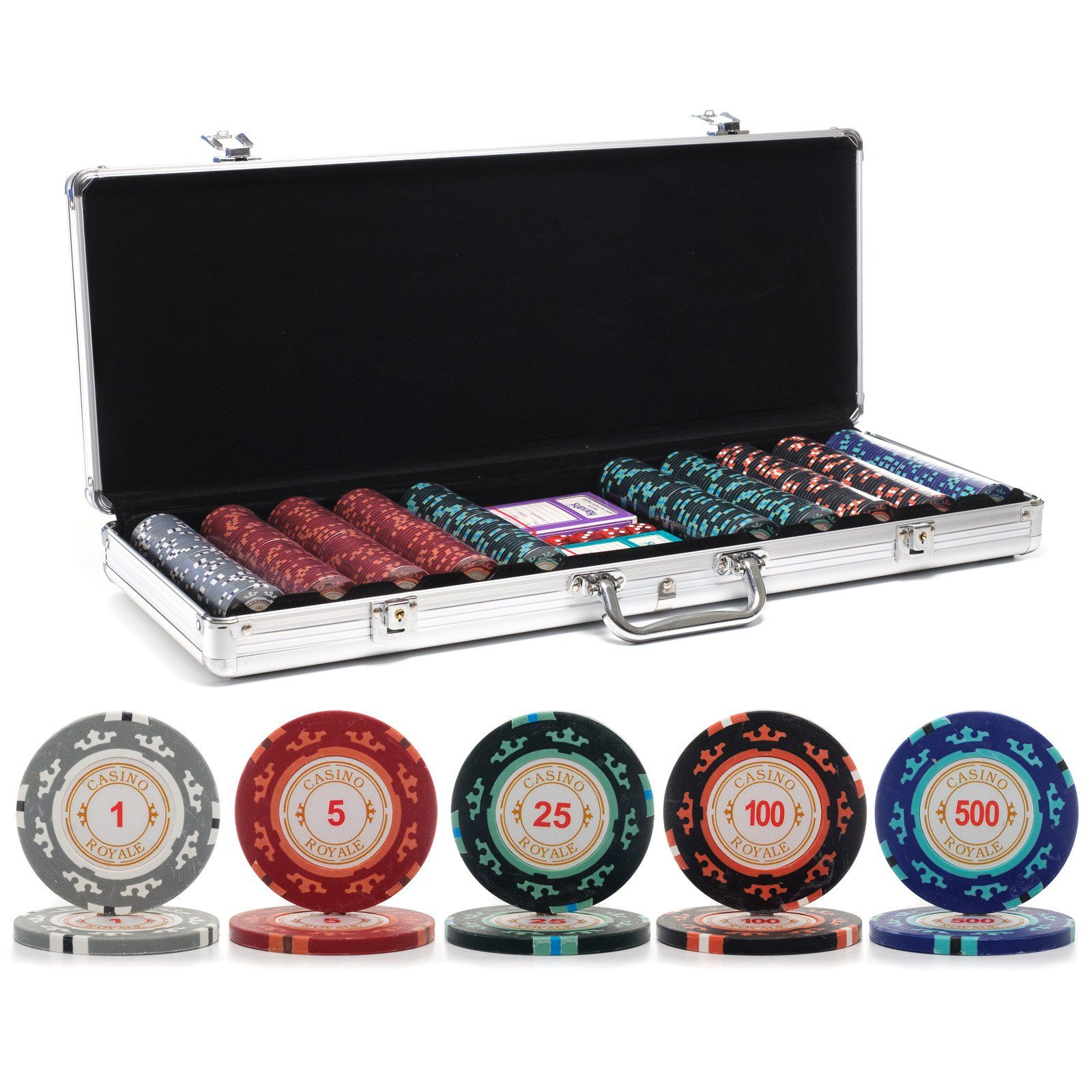 2 Decks of Playing Cards and 2 Cut Cards Da Vinci 500 Poker Chip Set with Case Dealer Buttons