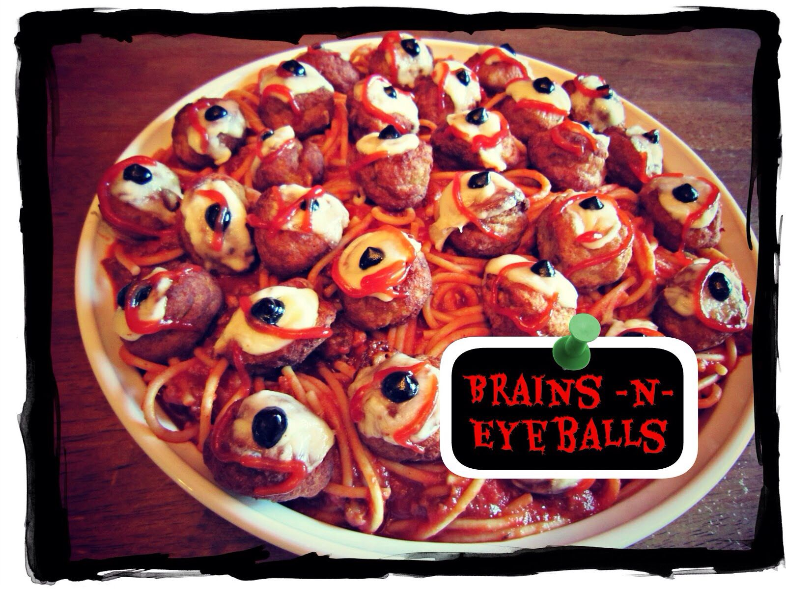 halloween tricks scary spaghetti with meatball - Scary Halloween Meatballs
