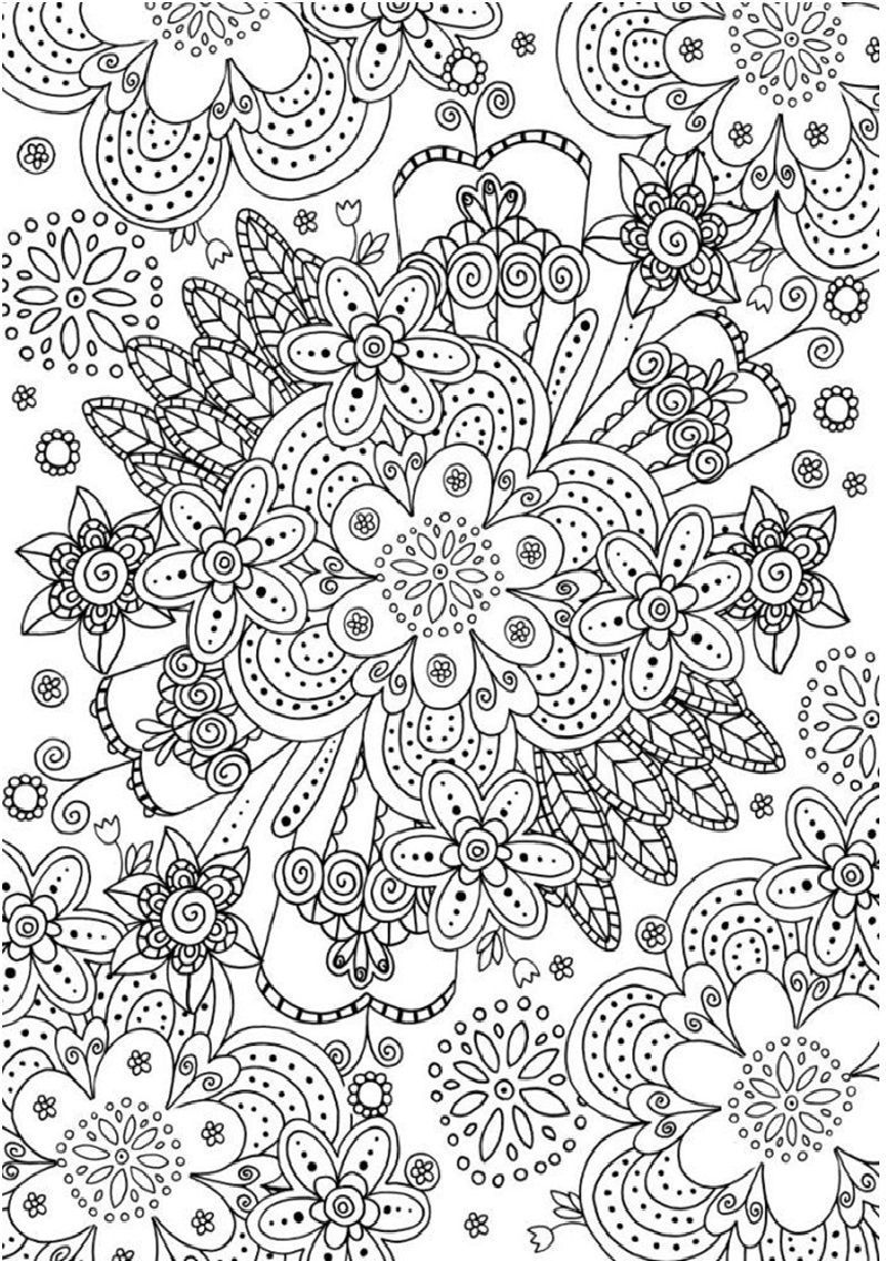Psychedelic flowers coloring page | Coloring pages and Printables ...