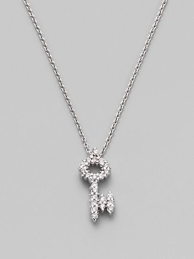 6d5e8be939 Roberto Coin Tiny Treasures Diamond & 18K White Gold Key Pendant Necklace  on shopstyle.com