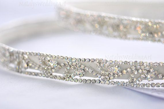 Stefana Silver Plated IVORY  Greek Orthodox Crowns with rhinestons and pearls