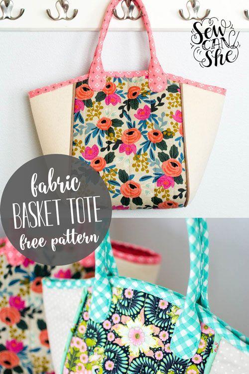 DIY Fabric Basket Tote {free sewing pattern} | Sewing patterns, Tote ...