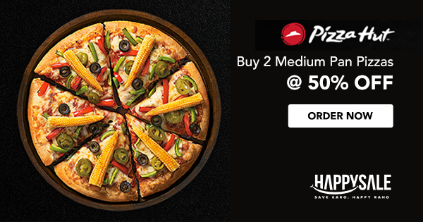Weekend Fun Has Started In An Exciting Way With Pizzahut Buy 2 Medium Pan Pizzas 50 Off Https Happysale In Pizz Pizza Hut Pizza Hut Coupon Codes Pizza