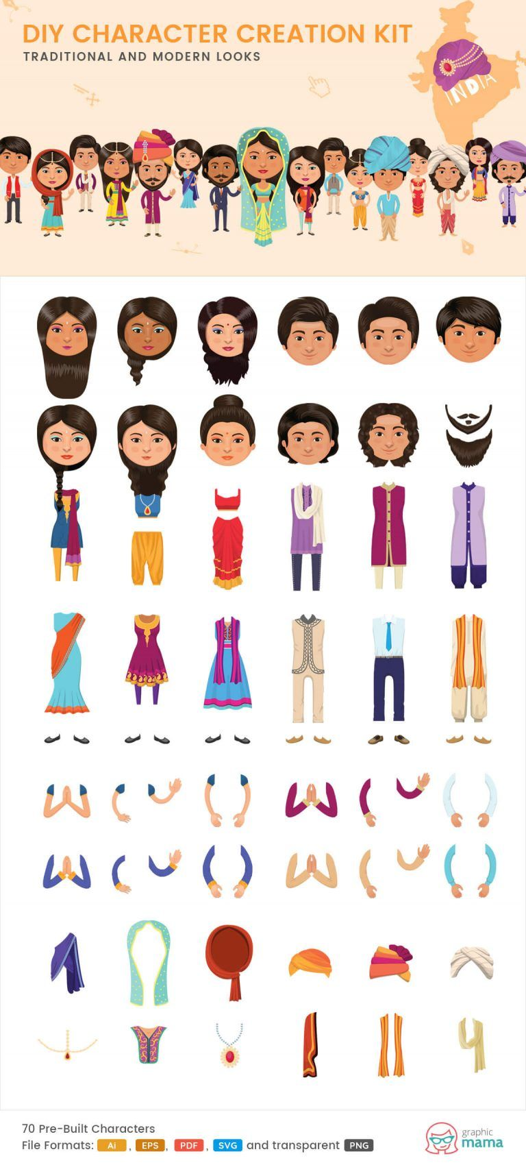 40+ DIY Vector Kits to Create Your Own Character in Adobe