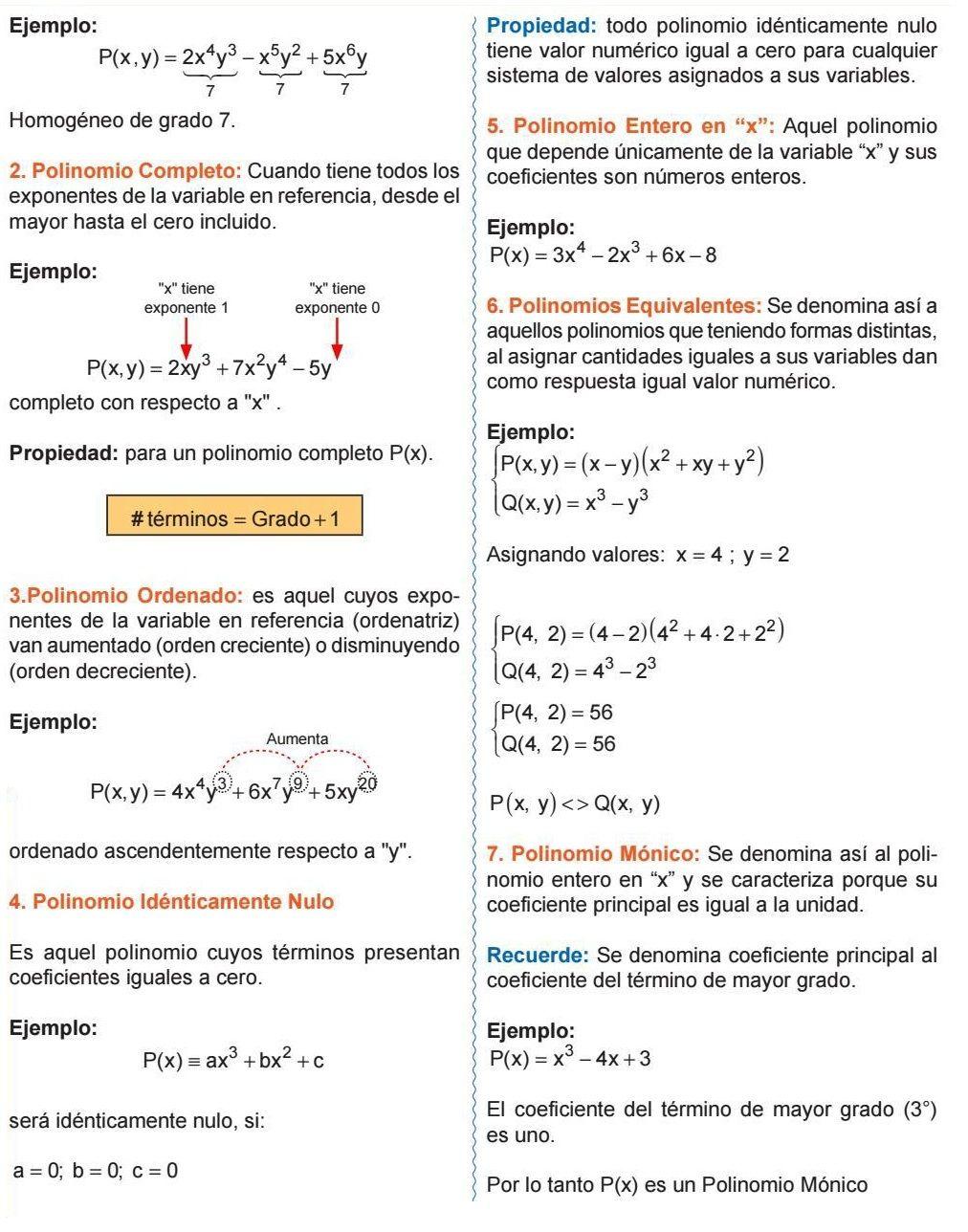 Propiedad Para Un Polinomio Completo Polinomio Ordenado Polinomio Idénticamente Nulo Polinomio Entero Polinomios Equivalentes Polinomio Algebra Math Physics