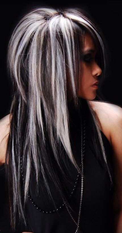 Image Result For Gray Highlights On Black Hair Hair Pinterest