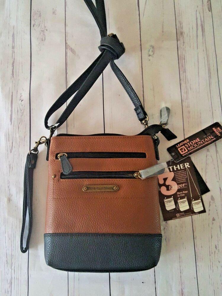 161fb00243af41 Stone Mountain 3 in 1 Bagger Leather Black/Tan Crossbody Bag Clutch  Wristlet $59 191417011106 | eBay