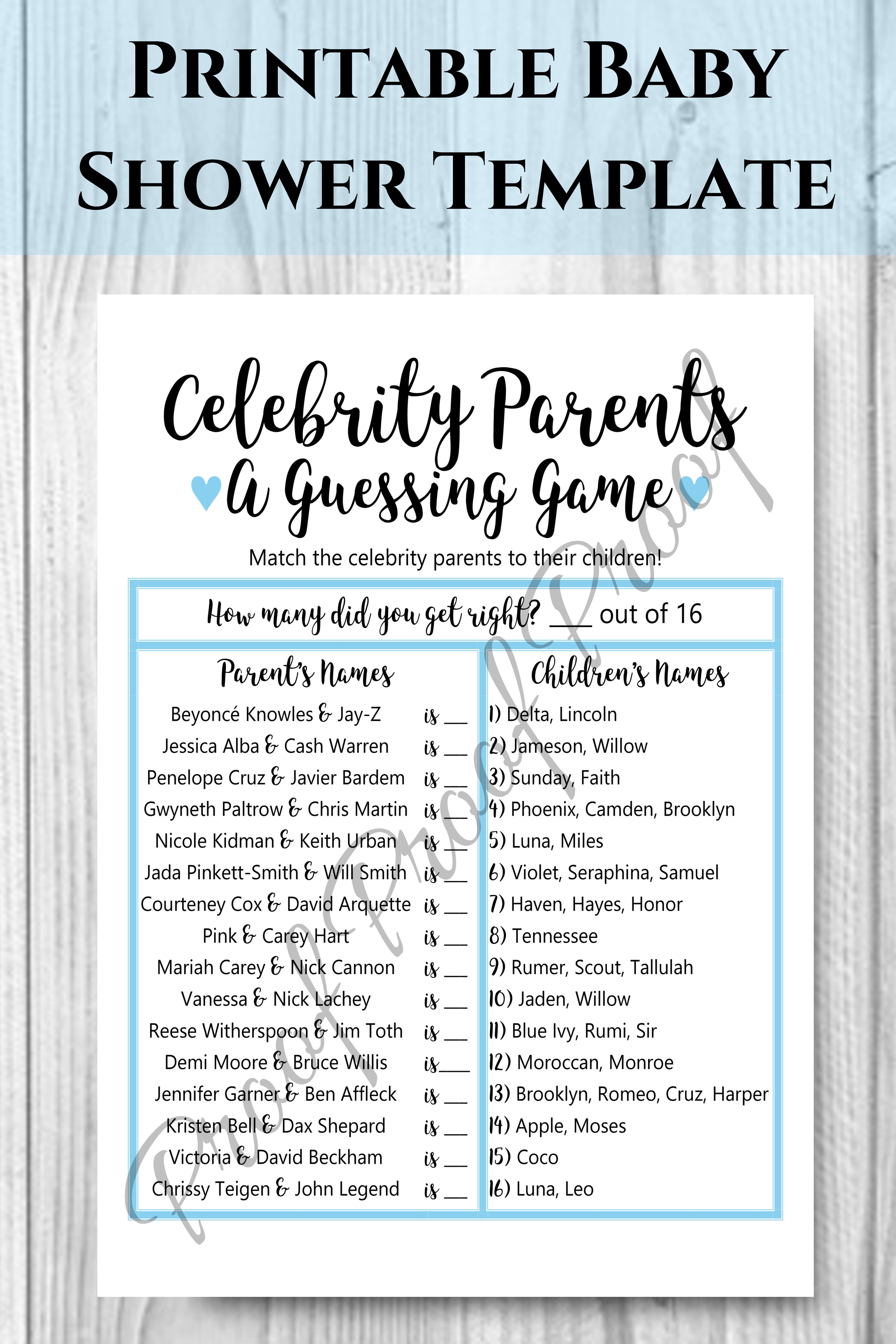 Celebrity Baby Names Famous Parents Names Celebrity Baby Game Printable Baby Show In 2020 Trendy Baby Boy Names Celebrity Baby Names Printable Baby Shower Games Boy