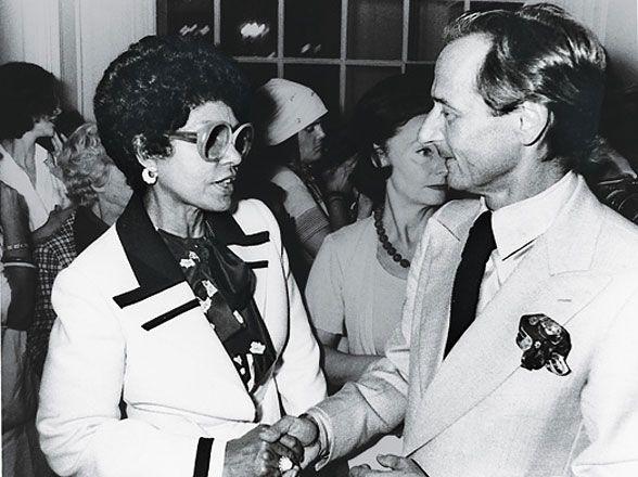 Black Power Dressing - Eunice Johnson with Christian Dior designer Marc Bohan, 1976.