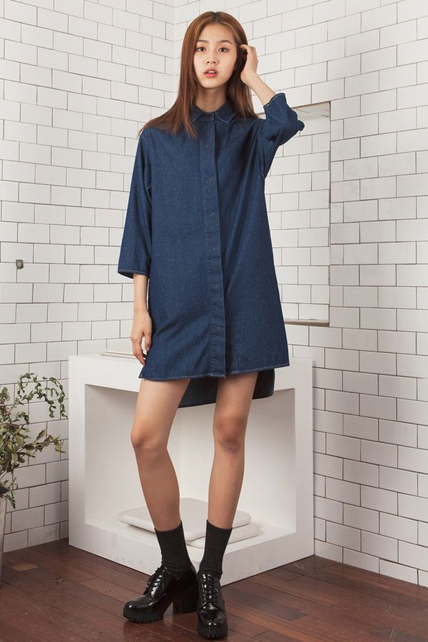LOOKAST Denim Shirt Dress
