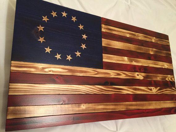 Betsy Ross Wood American Flag Rustic Decor Distressed Flag American Flag Original Us Flag Flag Wooden American Flag American Flag Wood Hanging Wall Decor