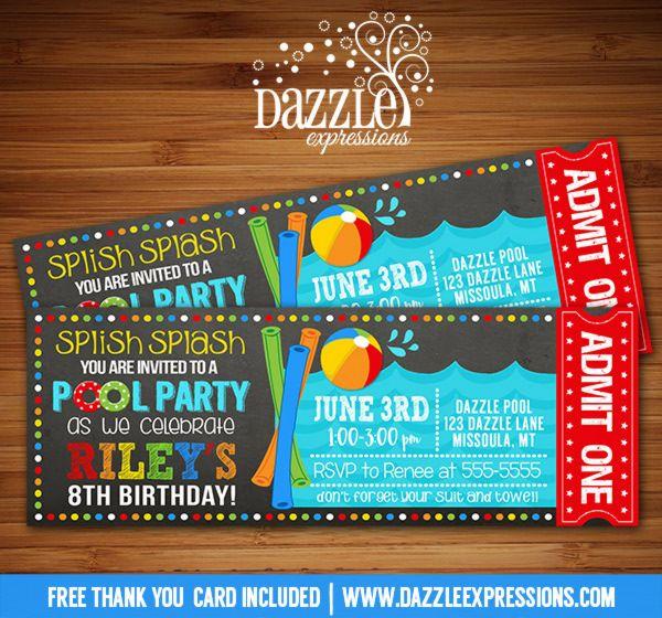Printable Pool Party Chalkboard Birthday Invitation Water Park - free ticket invitation template