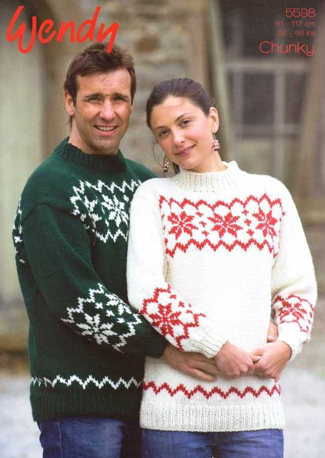 Knitting Pattern Wendy 5598 His And Hers Snowflake Sweater 260