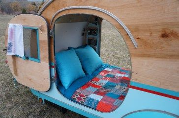 Interior of a DIY Teardrop Trailer by Homespun Harros … | 2017 | Teard…