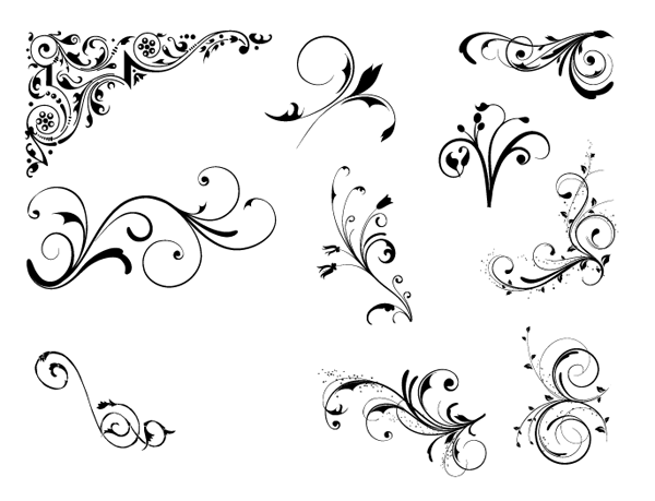 Roundup Of Free Vintage Ornament Floral Vectors Floral Vector Free Vintage Ornaments Free Stencils