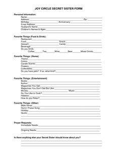 Secret Sister Information Sheet - Bing Images | secret pal | Pinterest