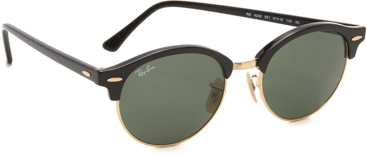 fc6203d04b Ray-Ban Round Clubmaster Sunglasses - Classic Ray-Ban Clubmaster sunglasses  with a glossy top line and arms. Case and cleaning cloth included. Round  frame.