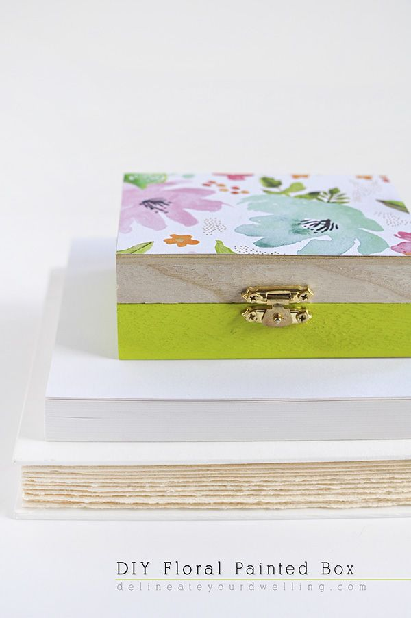 Diy Floral Painted Wooden Box Crafts And Projects Painted Wooden