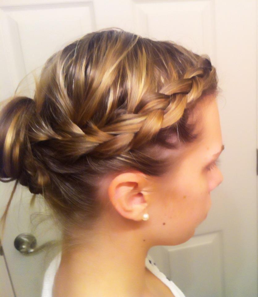 1 Of 2 Side Braid With Upside Down Pony Into Bun Braided Hairstyles Easy Upside Down Braid Hair Styles