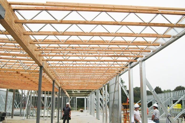Red S Open Web Truss Engineered Wood Truss For Commercial