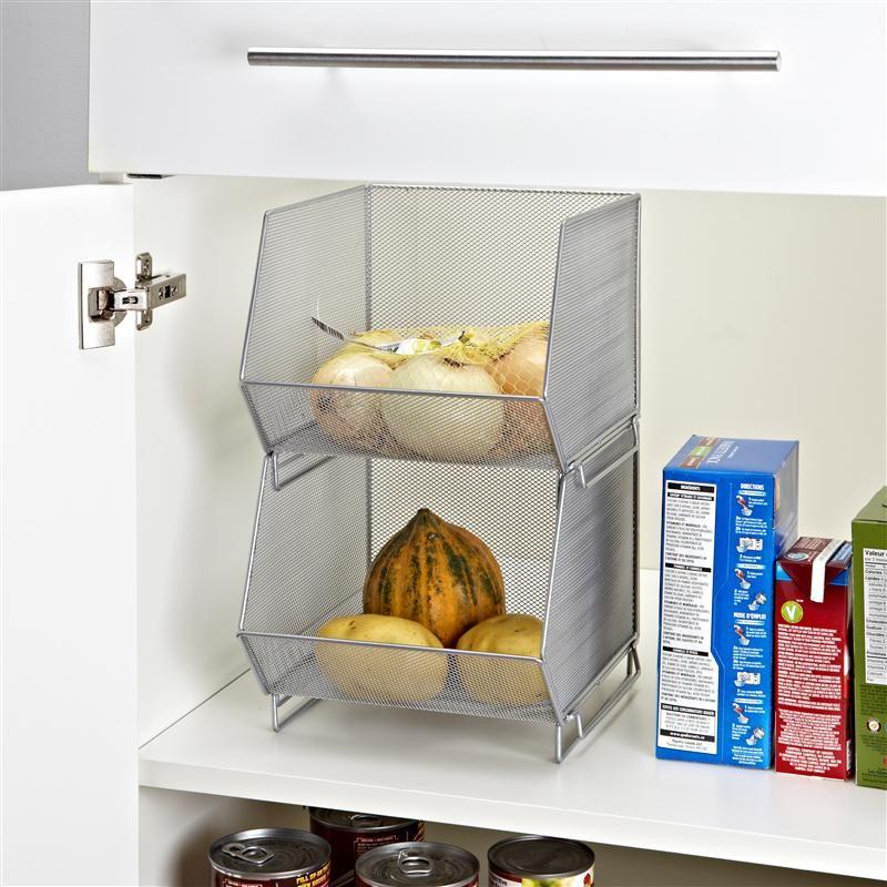 Ksp Mesh Stacking Storage Bin 24 X 30 X 15 Cm Silver Kitchen Stuff