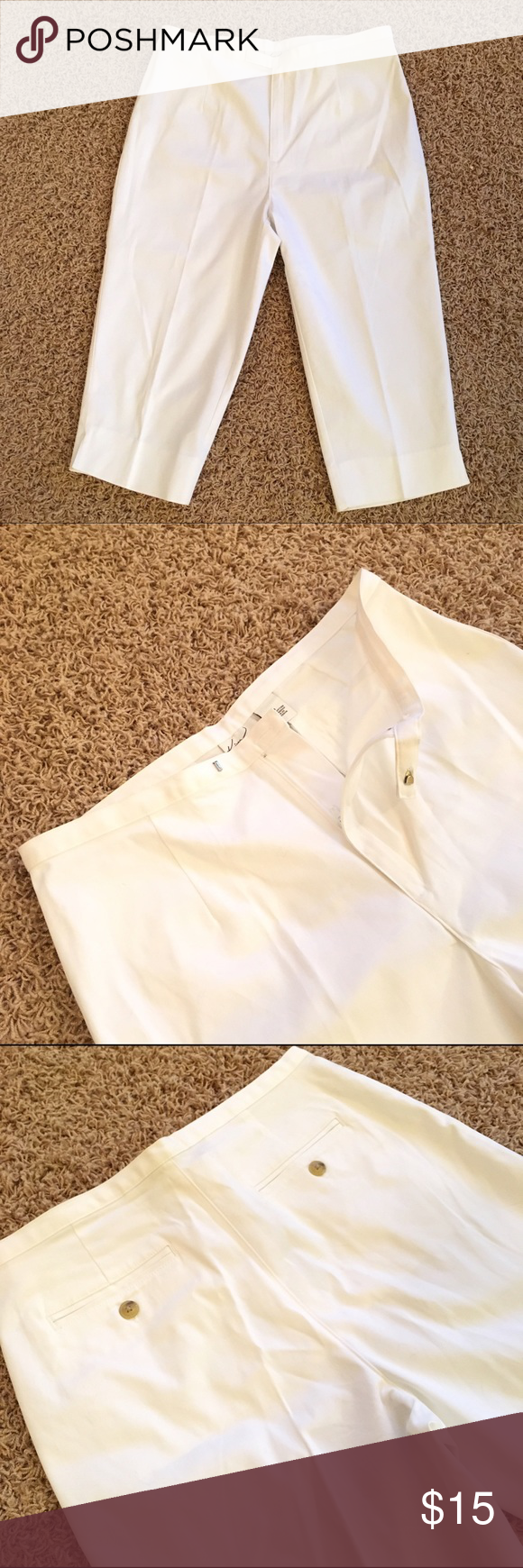 """White Capri Pants. Size 8. White Size 8 Capri Pants by Kim Rogers. Excellent Condition. 97% Cotton, 3% Spandex. **Approximate measurements: 28.25 inches from top of pant to bottom of pant. Bottom of pant opening has a 2"""" slit and is 7.5 inches wide, waist is 15.5 inches side to side, widest part of hip is 20"""". Classic Summer Capri. Request a Bundle w other items and I will create for you. Thank you! Kim Rogers Pants Capris"""