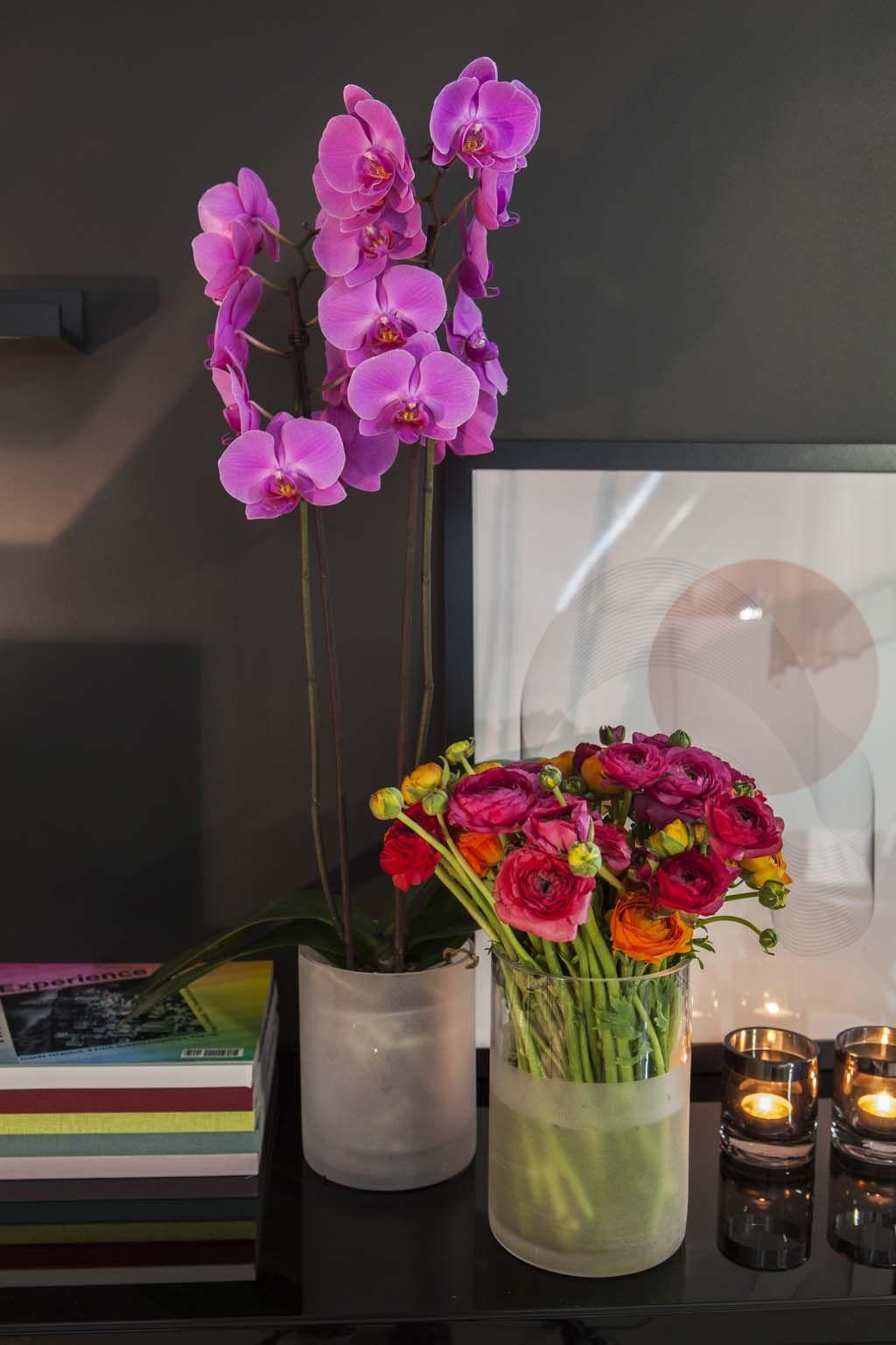 Lilla orkidé og fargerike ranunkler
