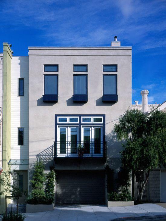 Modern Townhouse Townhouse Designs San Francisco: Modern Stucco A La San Francisco Exterior Facade With Modern Victorian Curbside