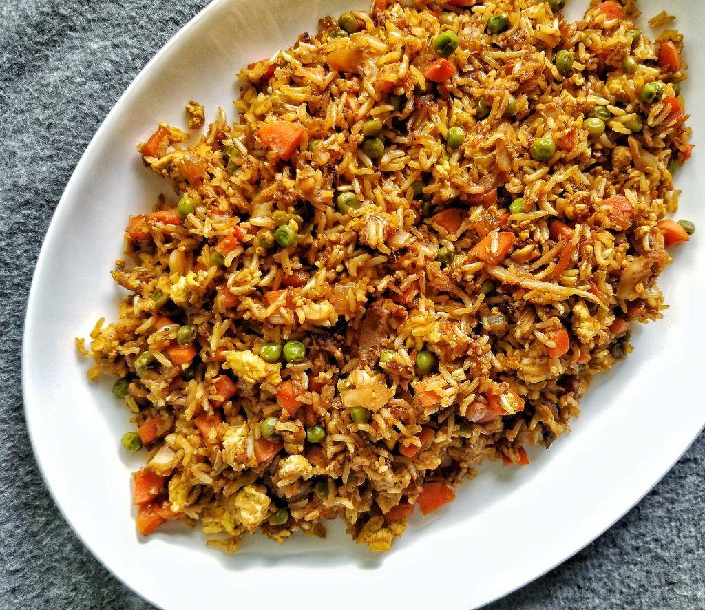 Oil Free Vegan Fried Rice Recipe In 2020 Vegan Fried Rice Vegan Recipes Plant Based Vegan Fries