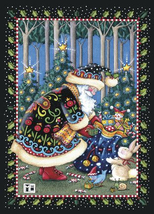 Mary Engelbreit Santa Card | Christmas Decked out in Black ...
