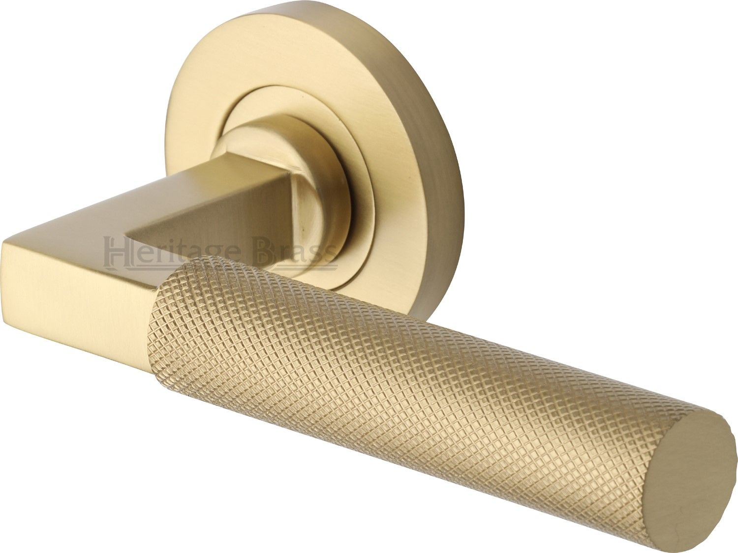 Heritage Brass Brushed Satin Brass Knurled lever door handles ...