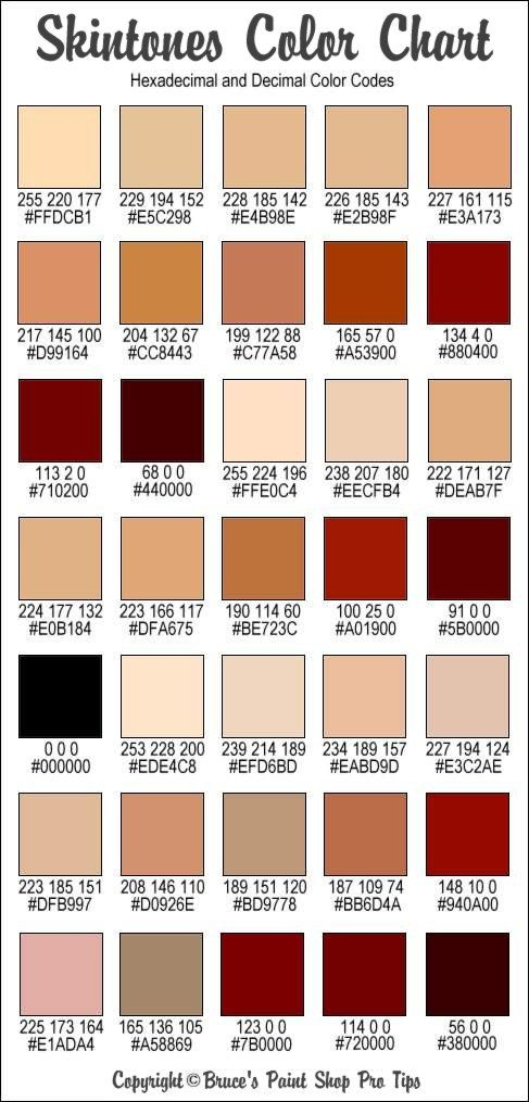 RGB and Hex Codes for different skin and hair tones Art Tips - sample html color code chart