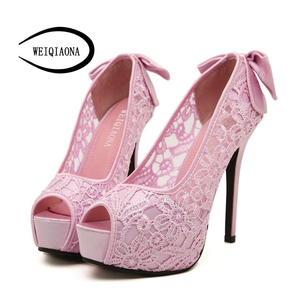 0db21ab073f Sweet Silk Satins Bow Knot Thin Heels Pumps Sexy Laces Flower Mesh Open Toe  High Heels Shoes Woman Wedding Party Shoes Pink