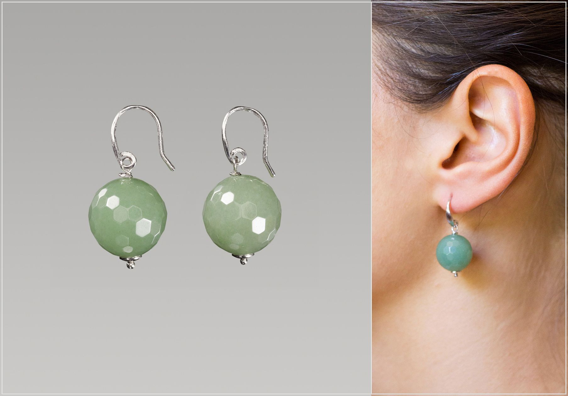 Beautiful green earrings, handmade in Italy. Silver 925 and ...