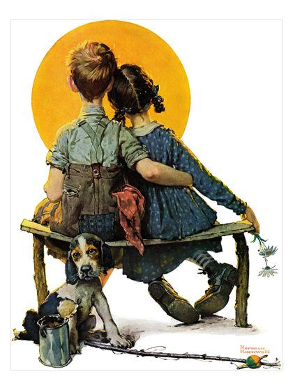 Sunset - Norman Rockwell. Art on canvas. Girl and boy watch the sunset.