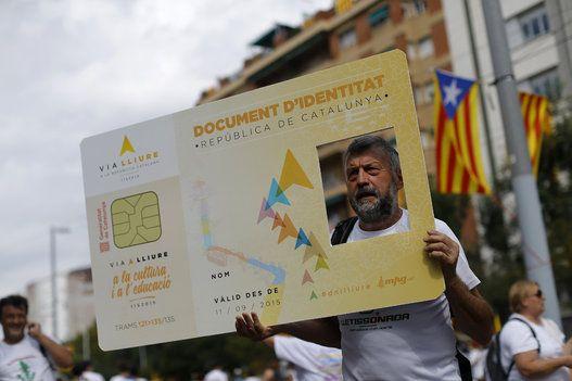 Manif pour l'indépendance de la Catalogne à Barcelone
