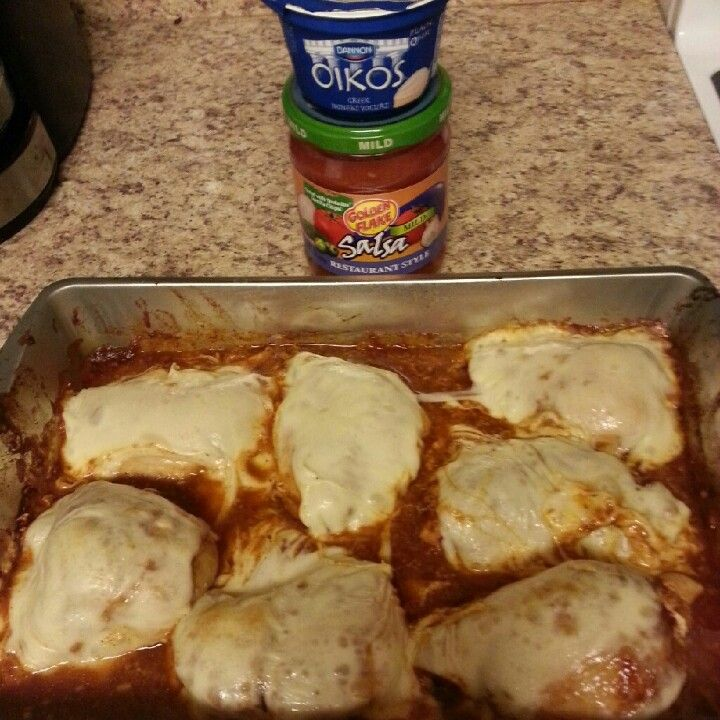 *8 boneless skinless chicken breast (I used GreatValue)*2 packs of McCormick mild taco seasoning 30% less sodium*Mozzarella cheese slices. I didn't even need to add the plain greek yogurt (in lieu of sour cream) or the salsa! It was delish as is!