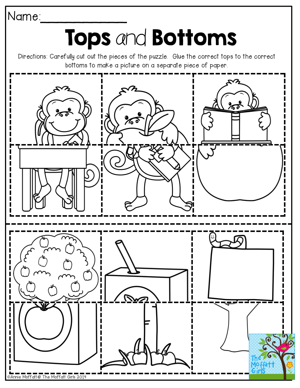 Tops and Bottoms Puzzles! Cut out the pieces and match the tops to ...