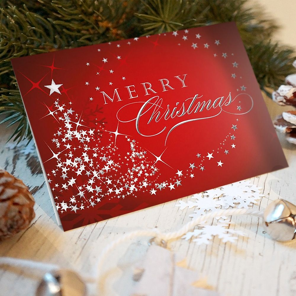 Merry Christmas Swirl Of Stars Red Christmas Card Christmas Cards Merry Christmas