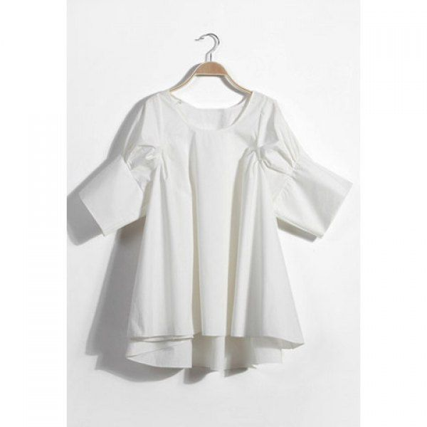 f406b39288 Solid Color Scoop Neck Puff Cuff Sleeves Refreshing Style Polyester Women s  Blouse