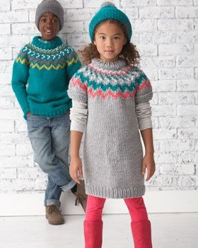 Free Bernat Knit Pattern - A fun rickrack pattern knit in bright, contrasting shades makes this pullover a stylish choice for fall and winter..