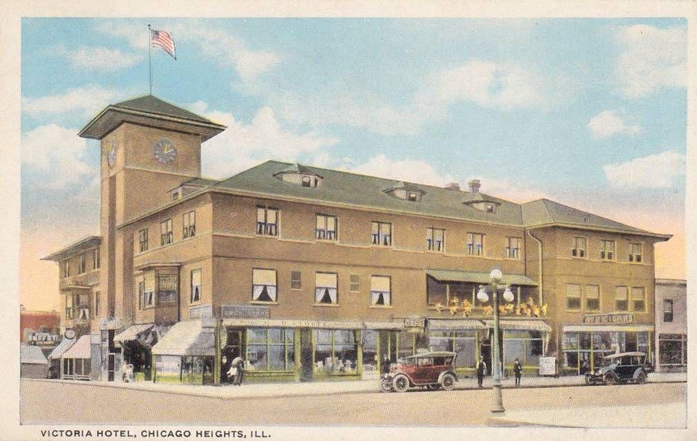 Victoria Hotel Postcard Chicago Heights Il