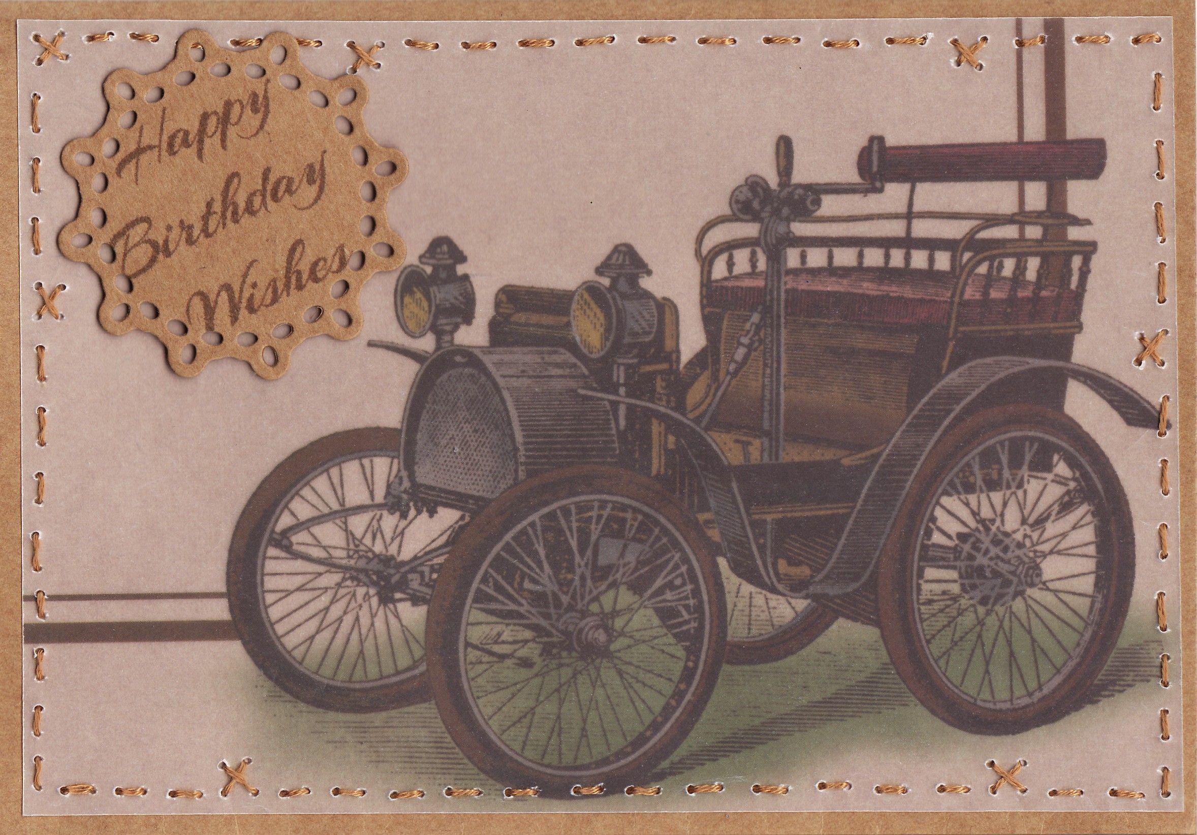 Vellum Vintage Car Happy Birthday Wishes Card By Tassie Scrapangel