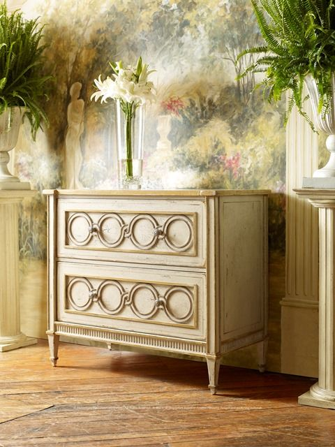 #01-1743 Tiffany Link 2-Drawer Chest Featuring a timeless jewelry pattern of linking circles, this classical-styled chest design is sure to add a touch of casual elegance to any décor. Shown in Harvest Muslin.
